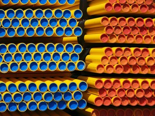 colorful, capped pvc pipes