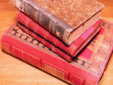 stack of old books poster