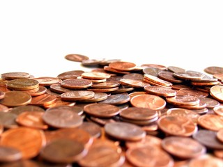 field of pennies in very shallow focus