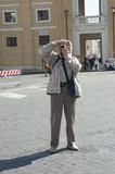 elderly photographer tourist in rome poster
