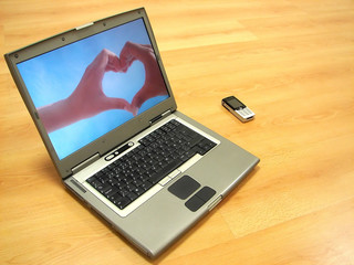 lover's heart on laptop display