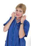 doctor or nurse putting on stethoscope 15 poster