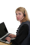 attractive customer service operator 3 poster