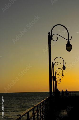 lampost & beach sunset