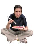 woman eating asian food poster