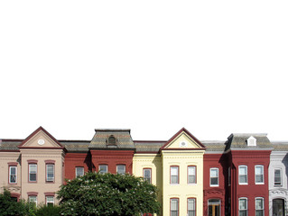 dc rowhouse rooftops on white