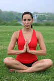 beautiful brunette yoga instructor poster
