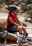 female mountian biker poster