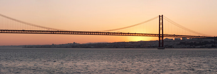 panorama of bridge 25 de abril, lisbon
