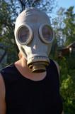 gas-mask portrait poster