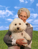 woman holding dog (focus on dog) poster