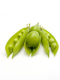 two fruits plums in a pod of a green peas. poster