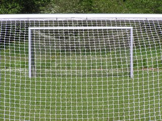 two soccer goals