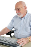 senior man enjoys computer poster