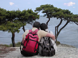 backpackers couple poster