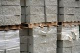 Fototapety cement blocks on wooden palettes