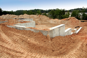 cement foundation of a brand new home