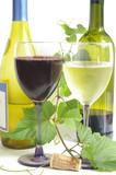 wine glasses and bottles poster