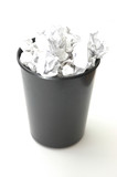 bin filled with paper poster