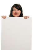 woman smiling with advertising sign poster