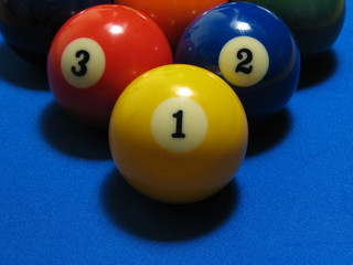 first three pool balls