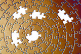 abstract of a jigsaw in copper with five missing pieces poster