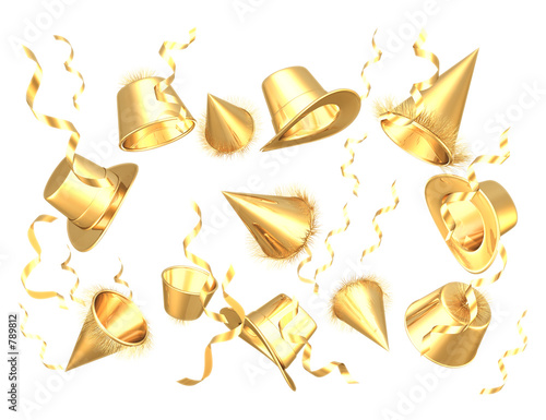 gilded party hats 3d (with clipping path)