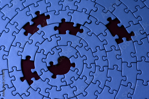 jigsaw in blue with five missing pieces t-shirt