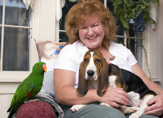 woman with pets