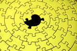 abstract of a grey jigsaw with one missing piece poster