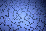 three-dimensional blue jigsaw poster