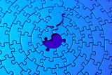 abstract of a blue jigsaw with the missing piece poster