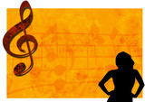 grunge music backdrop banner with woman silhouette poster