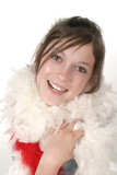 young glamour teen with feather boa 2a poster