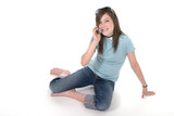 young teen girl talking on cellphone 1 poster