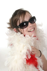 young glamour teen with feather boa 1a