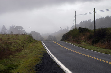 road into dark fog