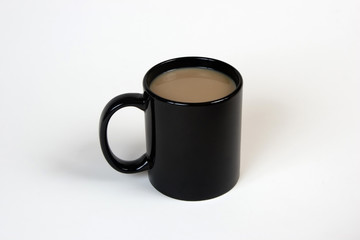 coffee in a black mug