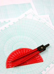 red geometric utensils