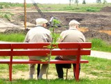 two old man sitting on the bench poster