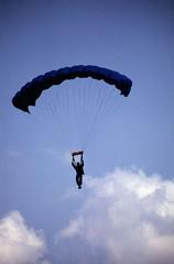 backlit skydiver