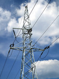 high voltage power pylon poster