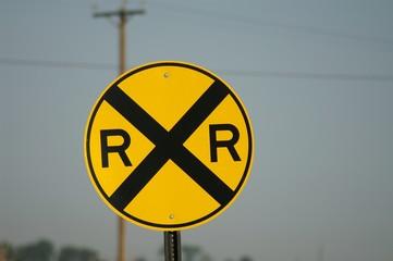 railroad sign, yellow