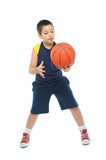 boy playing basketball isolated poster