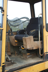 interior of excavator cab