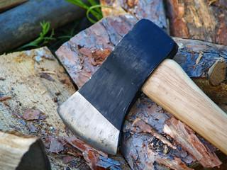 axe on firewood