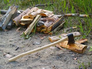 axe chopping firewood