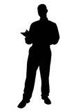 silhouette with clipping path of business man with poster