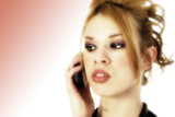 beautiful hispanic woman on cellphone poster