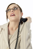 business woman frustrated with phone call poster